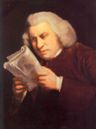 "Johnson (1775) showing his intense concentration and the weakness of his eyes; he did not want to be depicted as ""Blinking Sam""["