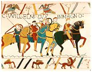 Depiction of the Battle of Hastings (1066) on the Bayeux Tapestry