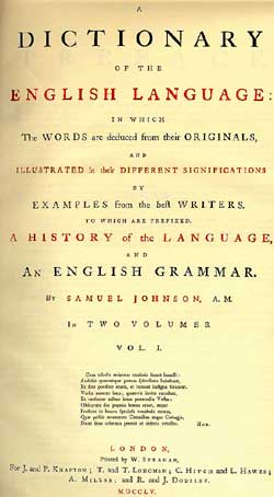 Title page of : Samuel Johnson. A dictionary of the English language : in which the words are deduced from their originals, and illustrated in their different significations by examples from the best writers. London : Printed by W. Strahan, 1755
